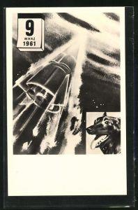 AK Weltraumhündin Tschernuschka 4, 9. März 1961