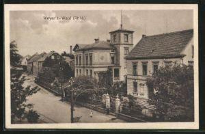AK Weyer, Strassenpartie mit Gebäudeansicht