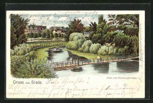 Lithographie Stade, Insel und Neubourgstrasse