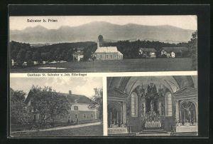 AK Rimsting - Salvator, Gasthaus St. Salvator von Joh. Eifertiger, Kirche, Innenansicht