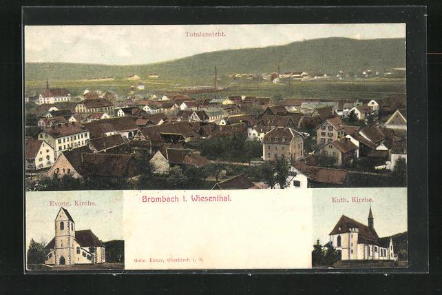 AK Brombach / Wiesenthal, ev. und kath. Kirchen, Totalansicht