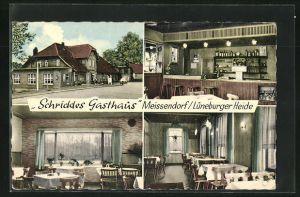 AK Meissendorf, Schriddes Gasthaus, Innen- und Aussenansichten