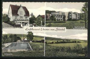 AK Unsen am Süntel, Edekageschäft v. G. Rinne, Haus v. d. Süntel, Kindererholungsheim, Schwimmbad