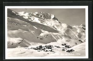 AK Zürs, Ortsansicht mit Arlberg