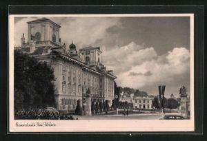 AK Eisenstadt, Schlossansicht mit flaggen