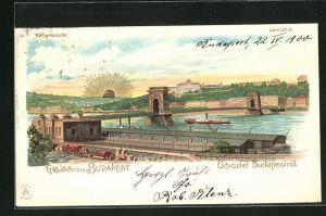Lithographie Budapest, Gesamtansicht mit Kettenbrücke