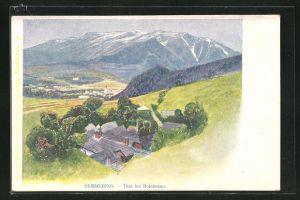 Künstler-AK Philipp + Kramer: Semmering, Ansicht Thal mit Bergen