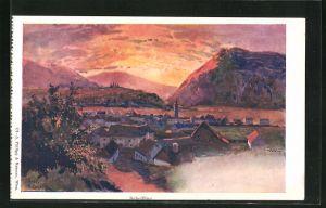 Künstler-AK Franz Kopallik: Scheifling, Ortsansicht mit Bergen