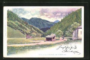 Künstler-AK Franz Kopallik: Paltenthal, Blick auf den Ort von Selzthal aus