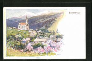 Künstler-Lithographie F. Witt: Semmering, Prein, Panorama