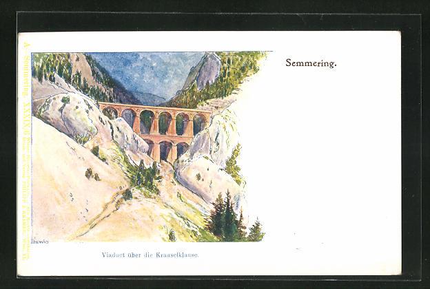 Künstler-Lithographie F. Witt: Semmering, Viaduct über die Krauselklause