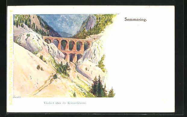 Künstler-Lithographie F. Witt: Semmering, Krauselklause-Viaduct