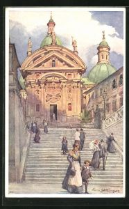 Künstler-AK Hans Götzinger: Graz, Domkirche mit Mausoleum