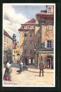 Künstler-AK Hans Götzinger: Graz, Mehlplatz mit Glockenspiel