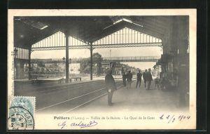 AK Poitiers, Le Quai de la Gare, Bahnhof