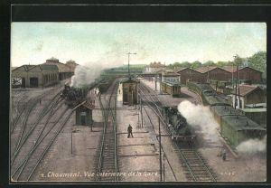 AK Chaumont, Vue intérieure de la Gare, Bahnhof
