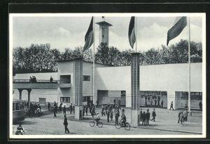 AK Dresden, Intern. Hygiene-Ausstellung 1931, Haupteingang, Bauhaus, Architektur
