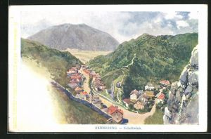 Künstler-AK Franz Kopallik: Schottwien, Semmering, Panorama