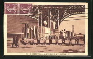 AK Paris, Exposition internationale 1937, petit train electrique, elektrische Rundfahrt