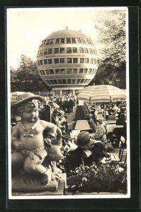 AK Dresden, Reichsgartenschau Ausstellung 1936, Konzertgarten mit Kugelhaus, Bauhaus