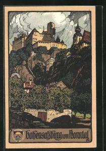Steindruck-AK Salzburg, Blick zur Festung Hohensalzburg vom Nonntal aus gesehen