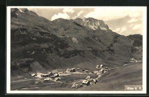 AK Zürs a. A., Totalansicht mit Umgebung und Berg