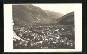 AK Landeck, Ortsansicht mit Fluss und Gebirge aus der Vogelschau