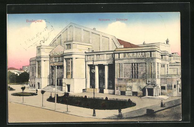 AK Budapest, Volksoper, Eingangsfassade