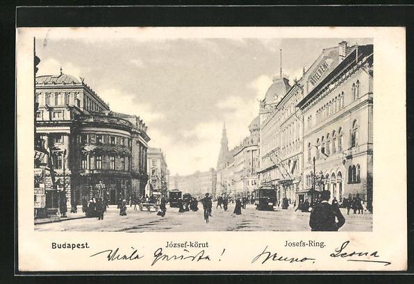 AK Budapest, Josefs-Ring, Häuserfassaden