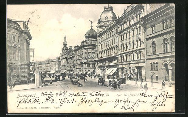 AK Budapest, Der Boulevard, Häuserfassaden