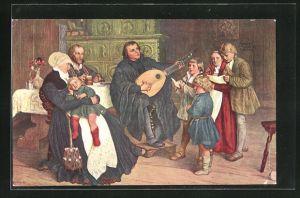 AK Martin Luther musiziert im Kreise seiner Familie