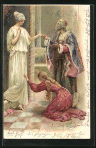 AK Das Wintermärchen, Szene aus dem Stück von William Shakespeare, Paar erweist einer Frau die Ehre