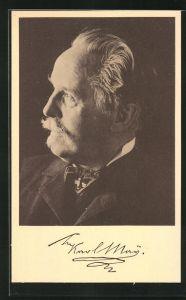 AK Schriftsteller Karl May, Halbportrait im Anzug