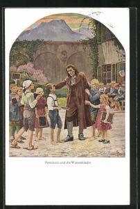 AK Pädagoge Johann Heinrich Pestalozzi mit seinen Waisenkindern
