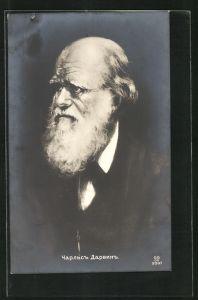 AK Naturforscher Charles Darwin, Halbportrait mit Bart