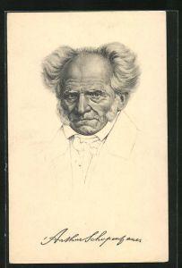 AK Philosoph Arthur Schopenhauer, Portrait