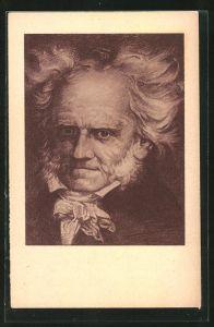 AK Philosoph Arthur Schopenhauer, Halbportrait mit wirrem weissen Haar