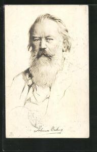 AK Komponist Johannes Brahms, Halbportrait mit Bart