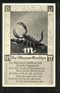 AK Sternzeichen Skorpion, Gedicht zur Charakterisierung von Skorpion Menschen