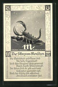 AK Sternzeichen Skorpion, Gedicht für Skorpion Menschen