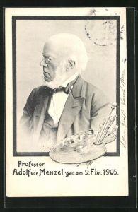 AK Professor Adolf von Menzel, Malpalette, gest. am 9. Fbr. 1905