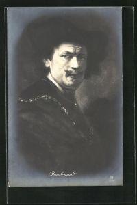 AK Rembrandt mit Schnurrbart, Maler
