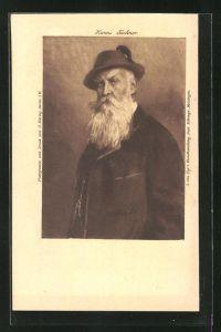 AK Hanns Fechner, Portrait des Malers
