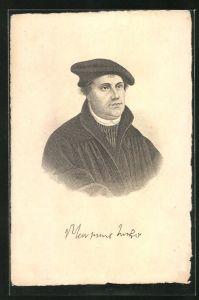 AK Martin Luther, Portrait mit Mütze