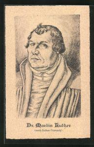 AK Dr. Martin Luther, Portrait nach Lukas Cranach