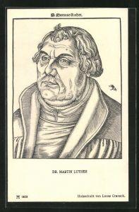 AK Dr. Martin Luther, Holzschnitt nach Lucas Cranach