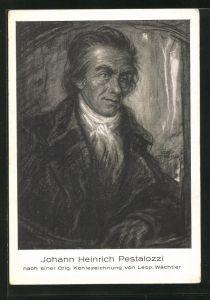AK Johann Heinrich Pestalozzi, Kohlezeichnung von Leop. Wächtler