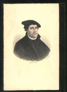 AK Martin Luther, Portrait mit Mütze, Stich