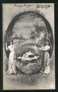 AK Zwei junge Damen mit Früchten und zwei Kindern unter dem Buchstaben O sitzend
