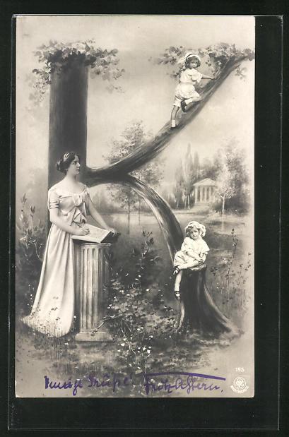 AK Buchstabe K, kletternde Kinder und Frau mit Buch, Montage